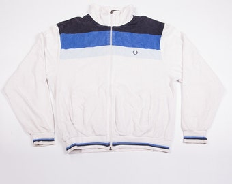 Vintage Fred Perry Terry Towelling Zip Up Logo JAcket