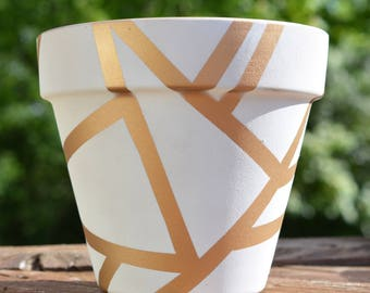 White and Gold Geometric Flower Pot