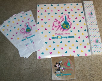 Vintage Walt Disney World  '20 Magical Years' Anniversary Set of 3 Gift Boxes, 3 Paper Bags and 2 Decals - 1991