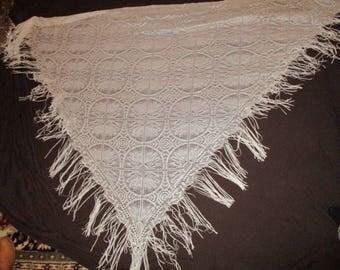 Vintage ivory fringed shawl