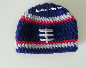 Patriots Hat, New England Patriots Hat, Baby Boy Football Hat, Boys Patriot Hat, Newborn Patriots Hat, Baby Boy Photo Prop, Crochet Hat