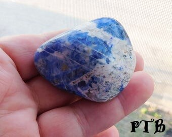 Thyroid Healing ~ Authentic XLarge Tumbled Natural Sodalite 50mm Gemstone Chakra/Pocket/Palm/Altar