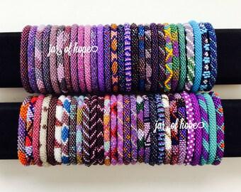 Nepal Handmade Beaded Roll On Bracelet Gift Birthday Purple Teal Pink