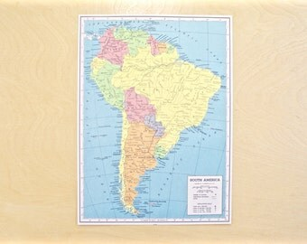 1943 - South America Map - Antique Map - Beautiful Old Map of South America - Large Vintage Map - Colorful Atlas Map - Gift - Home Decor