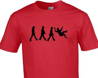 Mens T-shirt - Funny parody of the Abbey road Beatles walk, John slipping over.