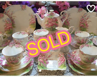 SOLD! Royal Albert Blssom Time tea set for eight. 27 pieces. Free shipping!