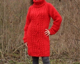 New Hand Knitted Mohair Sexy Long Sweater,Red,Handmade Dress,S-M-L
