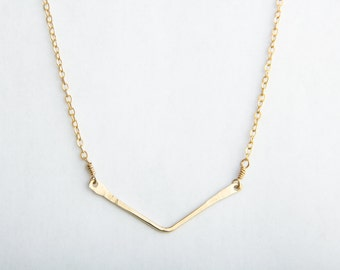 Small Chevron Necklace, Gold Filled or Sterling Silver