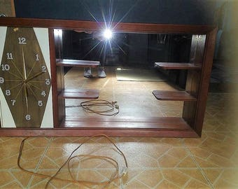 Mid Century Shadow Box with Mirror and Retro Clock