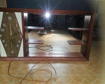 Mid Century Shadow Box with Mirror and Retro Clock