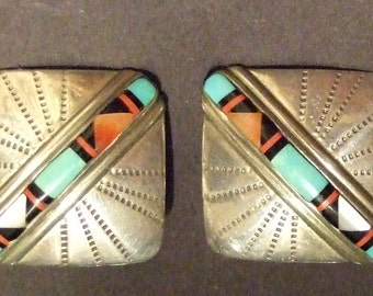 "Navajo Vintage Native American sterling inlaid square post earrings, 3/4"","