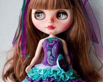 Purple/blue corset set for Blythe.