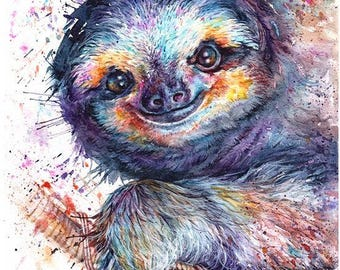 Sloth: Small Mounted Print to fit in size 18x24cms frame