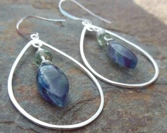 Fluorite and Sterling Silver Chandelier Earrings