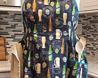 Craft Beer, Full Figure, Plus Size, Straight Neckline Apron