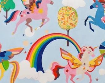 Magic Rainbow Sky Blue with Unicorns cotton fabric, Alexander Henry