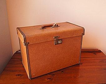 Vintage large leatherette box for storage.