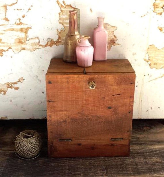 Vintage, Old Wood Cabinet. Small Tabletop Kitchen, Bathroom Storage Cabinet. Rustic Decor
