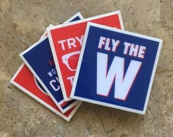 Ceramic Coasters, Set of 4, Chicago Cubs