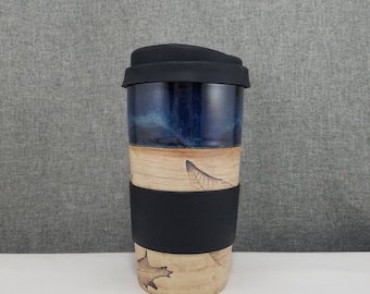 Made to Order(up to 3 weeks)* Ceramic Travel mug / Commuter mug with silicone lid - Dark Blue - Leafs