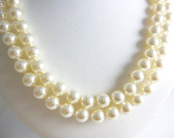 Double Strand Pearl Necklace, Hand Knotted Pearls,  Bridal Pearl Necklace,Swarovski Pearls, Bridesmaid Pearls, 8MM Pearls
