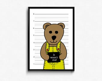 It wasn't me! - Kids graphic art -  nursery graphic art - bear nursery decor - bear wall art - mugshot