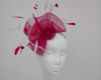 Fuchsia  Pink fascinator, hatinator, hat, for weddings, race meetings and special occassions