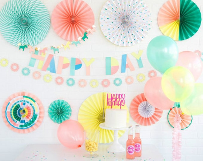 Neon Party Fans | Pom Wheel | Unicorn Rosettes | Paper Medallions | Yellow, Orange, Green Fans  |NEP 401| Paper Pinwheel