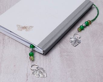 Green Beaded Bookmark ~ Leaf Bookmark ~ Green Beaded Book Thong ~ Book Bling ~ Book Lovers Gift ~ Bookworm Gift ~ Beaded Leaf Bookmark ~Gift