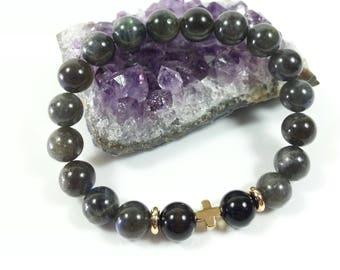 Labradorite & Black Obsidian Bracelet w/ 24k Gold filled Cross, Beads,8mm,Psychic Attack Protection Bracelet,Grade AA,Dad's Bracelet,For Her