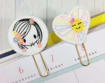 Embroidered Felt Clips, Flower Girl, Sunshine, Embroidered Planner Clips