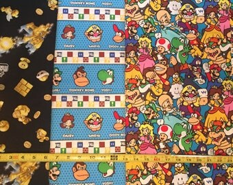 1 Yard Nintendo Super Mario Characters /  Fabric By The Yard