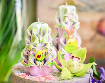 Easter Candles - Carved Candles - Handmade Carved Candles - Unusual Easter Gift - Best Gift for Holiday