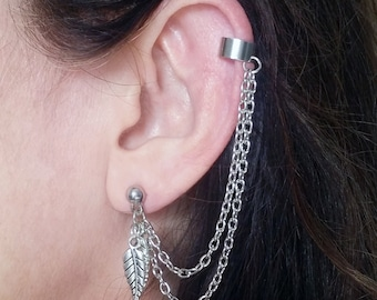 Silver Ear Cuff Chain and leaf Silver Ear Wrap