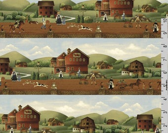 Early American Fabric, Folk Art Primitive Fabric, Windham Country Store 41274 Betty Caithness, Country Scene, Quilt Border Fabric, Cotton