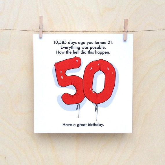 50th Birthday Card, Funny 50th card, Funny age card, Funny birthday card