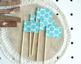 Set of FIVE MINI pennants. Aqua Polka Dots. Turquoise Polka Dot Pennants. Gift Topper. Gift Wrapping. Mini Flags. Polka Dot Mini Flags. Blue