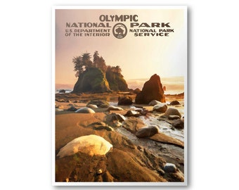 Olympic National Park Travel Poster (Sunset)