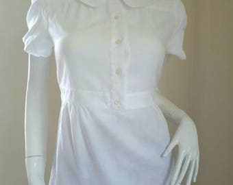 Rendez Vous Paul and JOE SISTERS White Cotton Short Sleeve Top Size : 2 Small - Medium