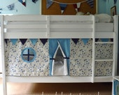 Blue Rose bunk bed tent. Create a secret hideaway to inspire imaginative and creative play. Free shipping to UK! Hand made. Standard size