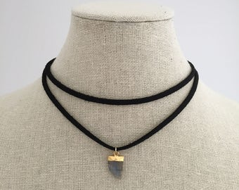 Black suede choker w/ labadorite horn tooth pendant