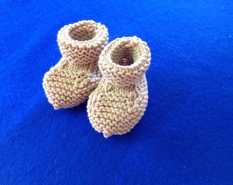 Hand knit  baby bootees.