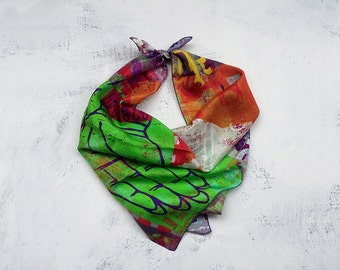 Silk scarf square, hindu art scarf, India bohemian clothing, colourful print scarf, India scarf with hindi words, whimsical gifts for her