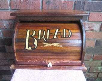 Wood Bread Box - Country Kitchen - Roll Top Bread Storage - Box cabinet - Kitchen Counter Box