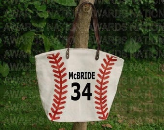 Personalized Canvas Baseball Tote