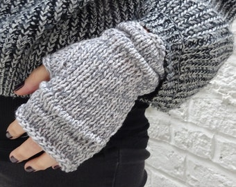 Light Grey Marl rustic linen and cotton hand-knitted fingerless gloves - ready to ship - FREE DELIVERY