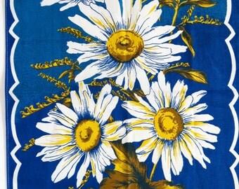 Vintage 60s / 70s cotton tea towel - crisp floral beauty with fab retro colours