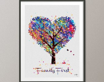 Heart Tree  Family First Quote Watercolor Print Wedding Gift Wall Decor Art Nursery Art Decor Wall Hanging Love Christmas [NO 649]