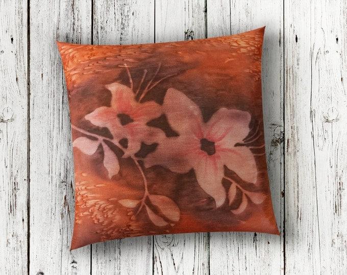 Burnt Orange-Orange Pillow 18x18-Watercolor Silk Pillow Cover-Floral Pillow Cover-Lodge Pillow-Home Decor Gifts-Watercolor Home Decor