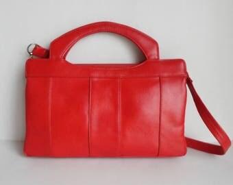 Red Vintage Vegan Shoulder/Top Handle Bag